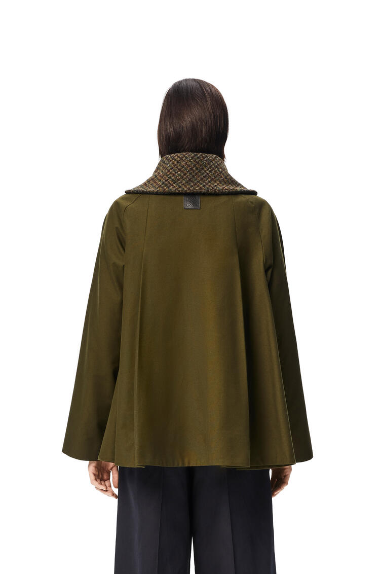 LOEWE Houndstooth collar jacket in cotton and wool Khaki Green pdp_rd