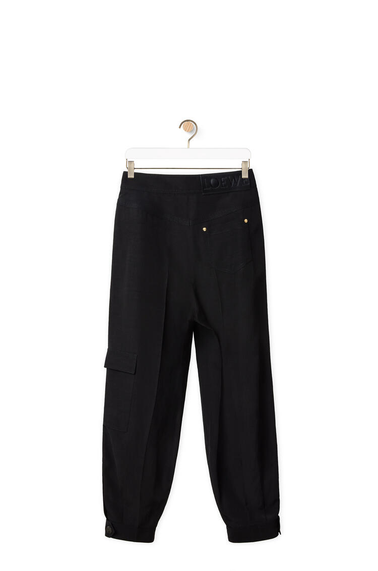 LOEWE Cropped balloon trousers in linen Black pdp_rd