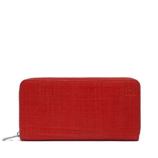 LOEWE Linen Zip Around Wallet Scarlet Red front
