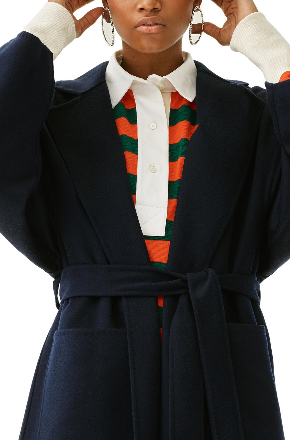 LOEWE Oversize Belted Coat Marino front