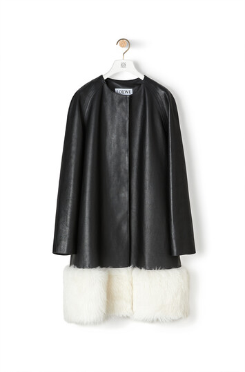 LOEWE Shearling Trim Coat Negro/Blanco front