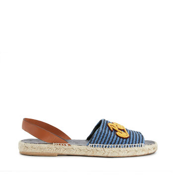 LOEWE Paula Stripe Sandal Espadrille 海军蓝/黄色 front
