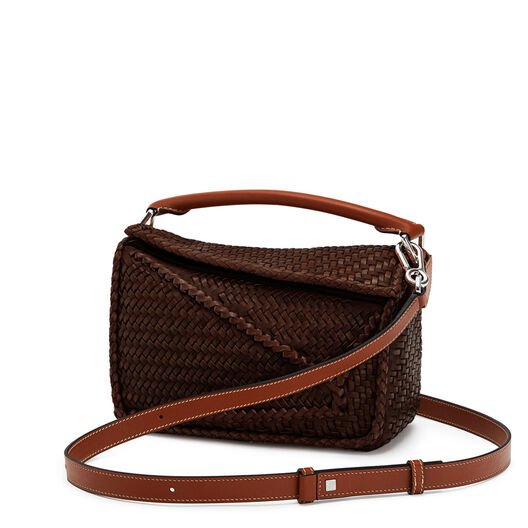 LOEWE Puzzle Woven Small Bag Brunette front
