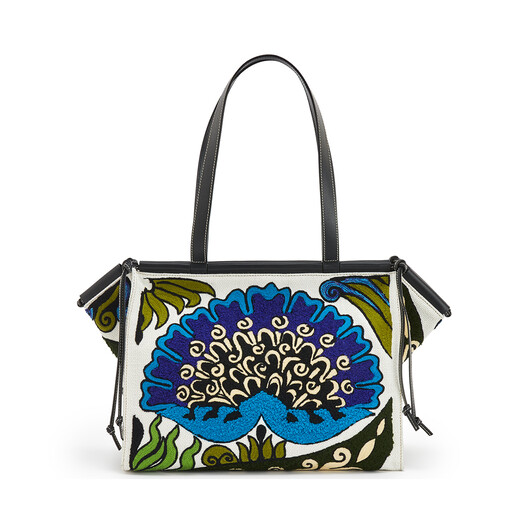 LOEWE Cushion Tote Floral Bag Peacock Blue front