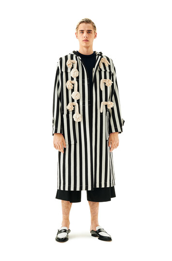 LOEWE Stripe Duffle Coat White/Black front