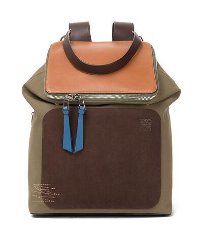 LOEWE Goya Backpack Choc Brown/Khaki Green/Tan front