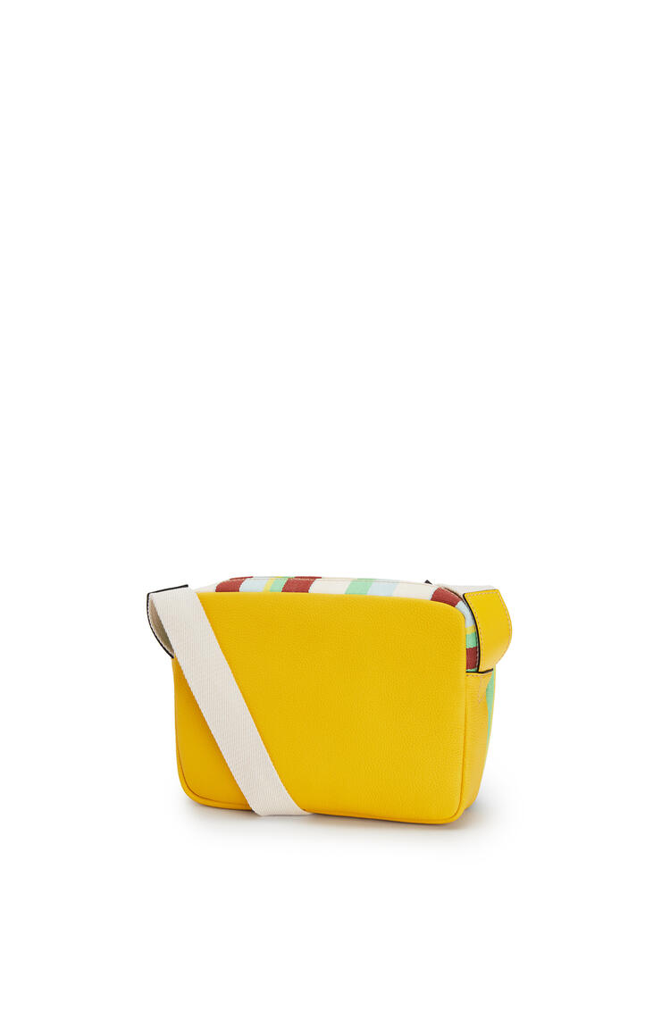 LOEWE Xs Military Messenger Bag In Calfskin And Canvas Yellow/Multicolour pdp_rd