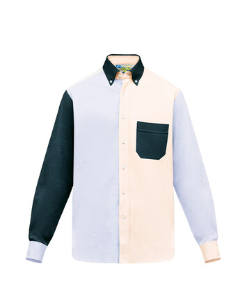 LOEWE Patchwork Oxford Shirt Azul/Blanco front