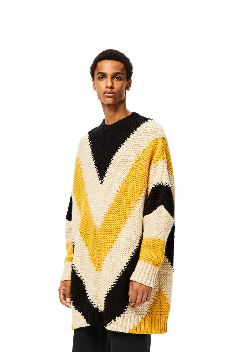 LOEWE Oversize crew neck sweater in striped cashmere Yellow/Black pdp_rd