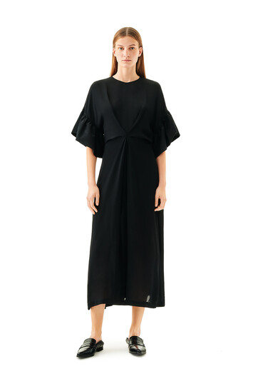 LOEWE Ruffles Sleeves Dress Negro front