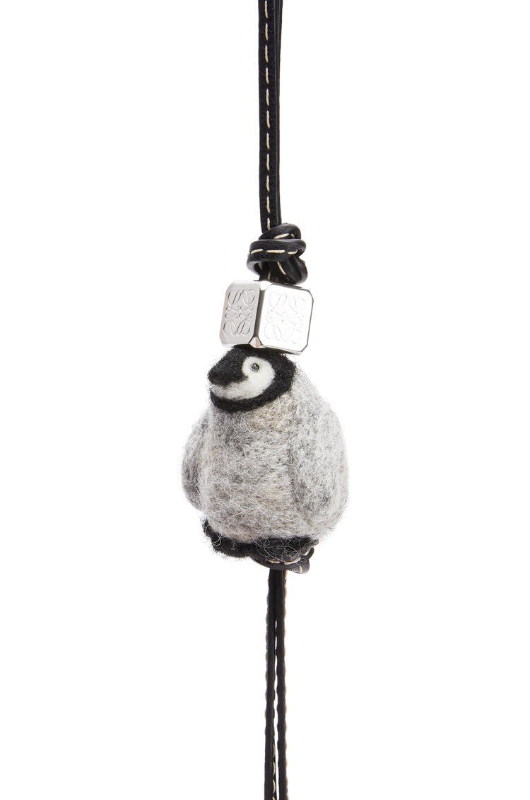 LOEWE Baby Penguin Charm in felt and calfskin Light Grey/Black pdp_rd