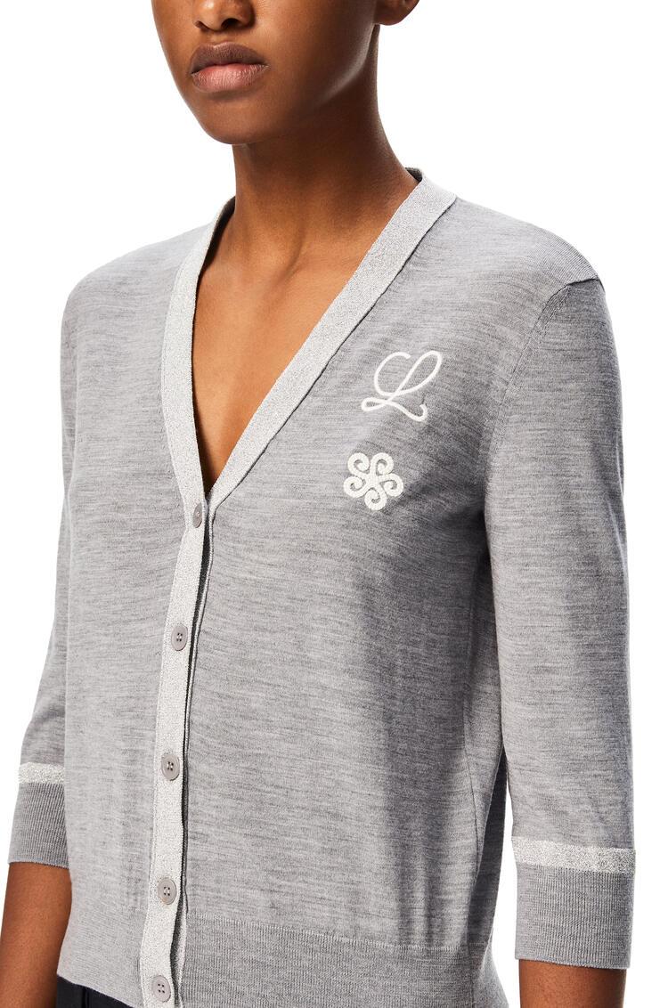 LOEWE Flower lurex cropped cardigan in wool Grey/Silver pdp_rd