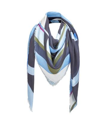 LOEWE 140X140 Scarf Stripe Anagram 蓝色 front