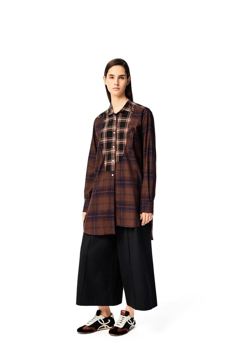 LOEWE Long asymmetric patchwork shirt in check cotton Brown/Navy Blue pdp_rd