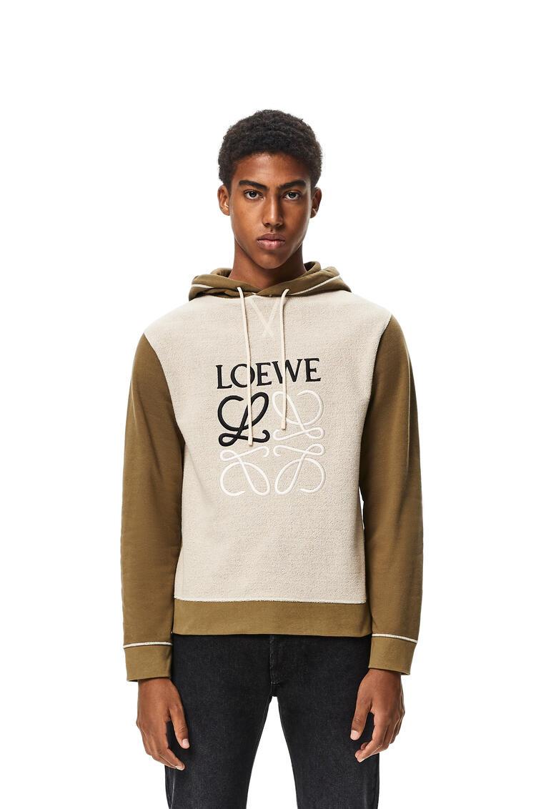 LOEWE LOEWE anagram embroidered hoodie in cotton Khaki Green/Ivory pdp_rd