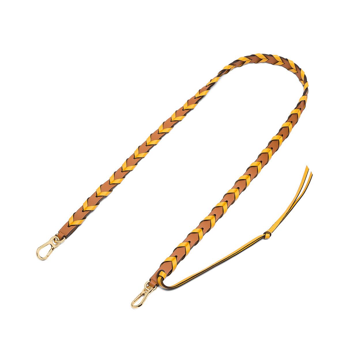 LOEWE Braided Thin Strap Light Caramel/Yellow Mango front