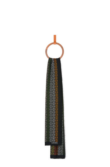 LOEWE Anagram in lines scarf in wool, silk and cashmere Black/Khaki Green pdp_rd