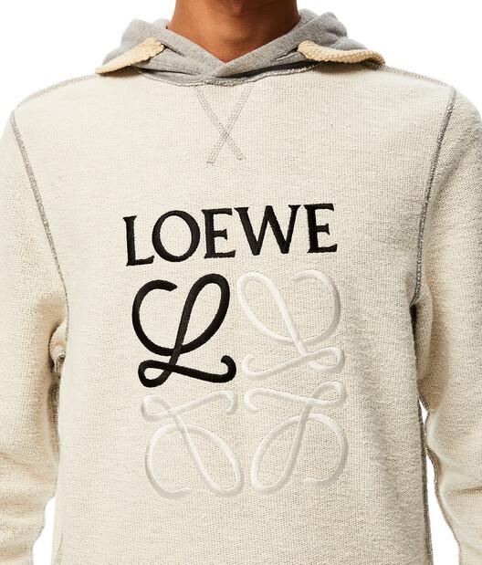 LOEWE Reversible Anagram Hoodie Grey Melange front