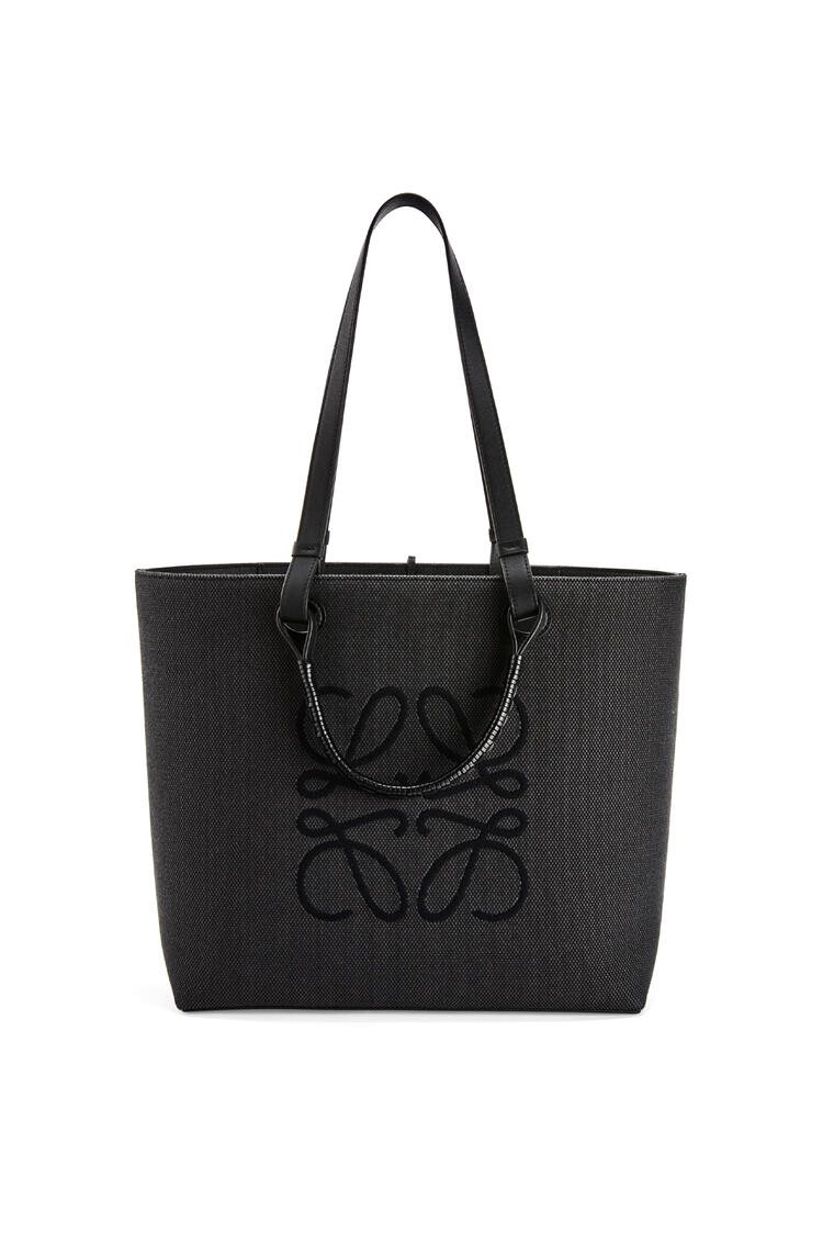 LOEWE Anagram Tote bag in jacquard and calfskin Anthracite/Black pdp_rd