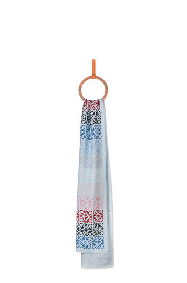 LOEWE Anagram lines scarf in wool, silk and cashmere 淡蓝色 pdp_rd