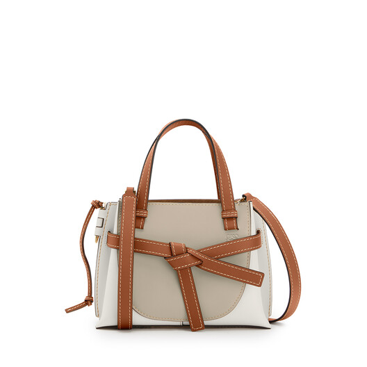 LOEWE Gate Top Handle Mini Bag Light Oat/Soft White front