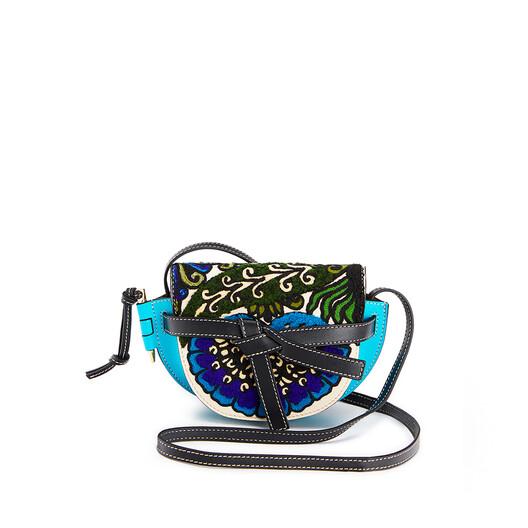 LOEWE Gate Floral Mini Bag Peacock Blue front
