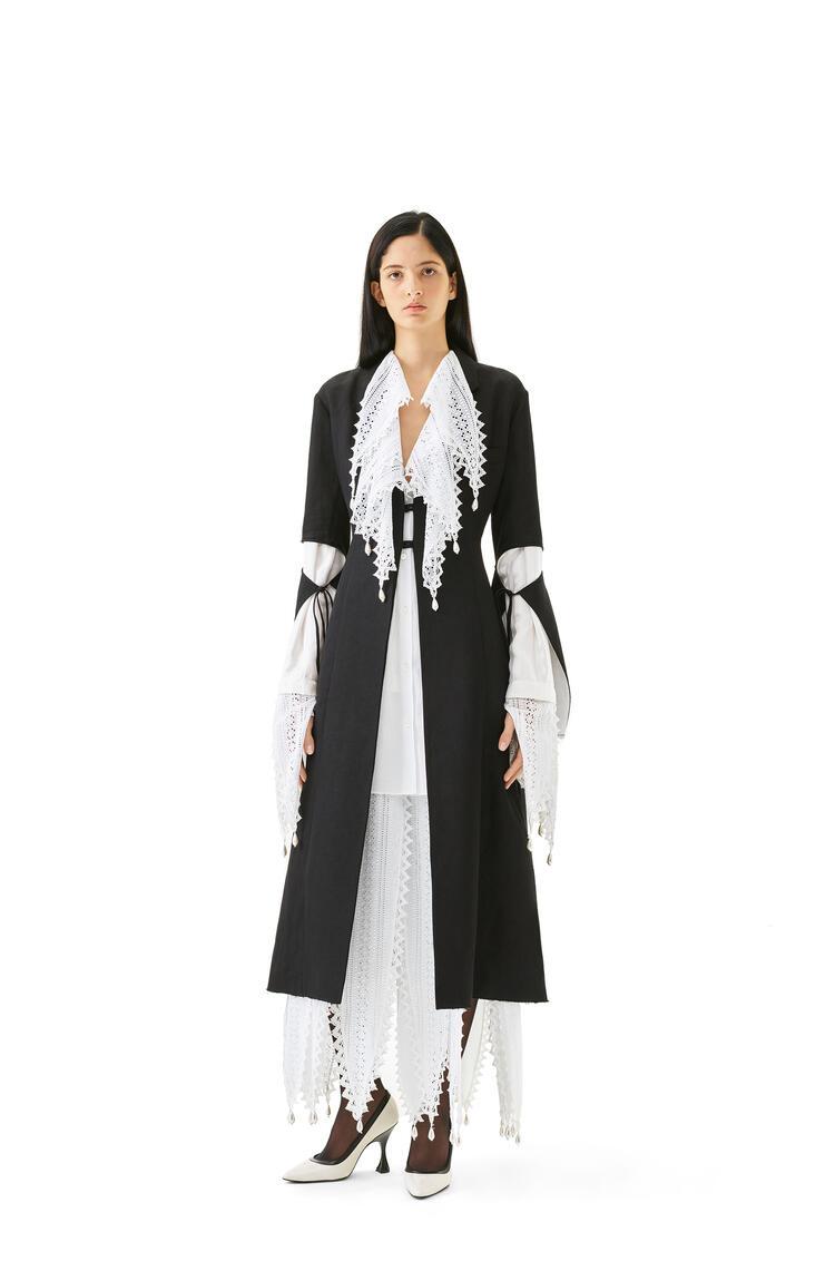 LOEWE Cut sleeve coat in linen and viscose Black pdp_rd