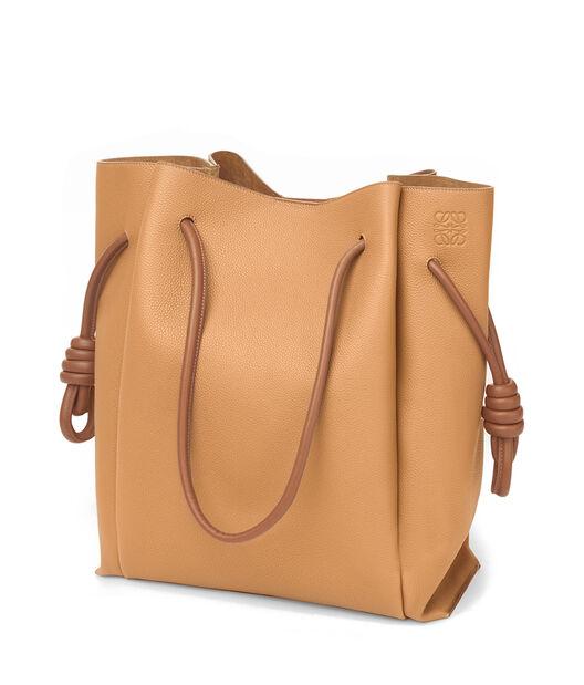LOEWE Flamenco Knot Tote Bag Light Caramel/Tan front