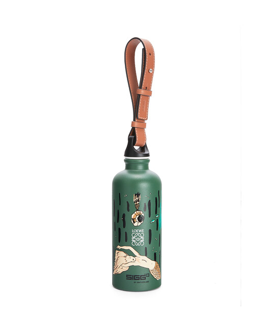 LOEWE Bottle In Mermaid Aluminium And Calfskin 綠色 front