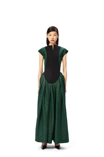 LOEWE Flower jacquard bib dress in cotton and silk Green/Black pdp_rd