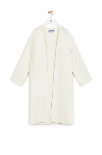 LOEWE Collarless Coat Off-White front
