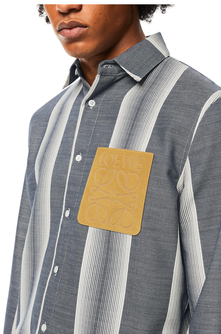 LOEWE Stripe overshirt in wool and cotton Soft White/Navy Blue pdp_rd