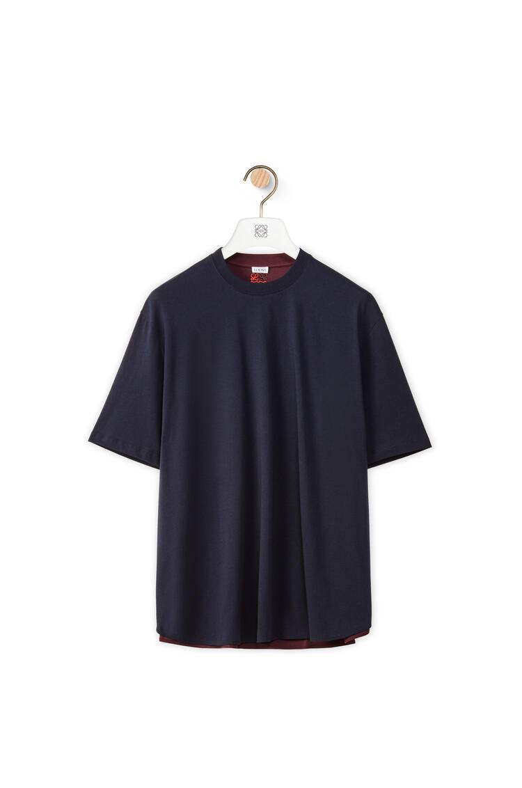 LOEWE Circle T-shirt in cotton Navy Blue/Burgundy pdp_rd
