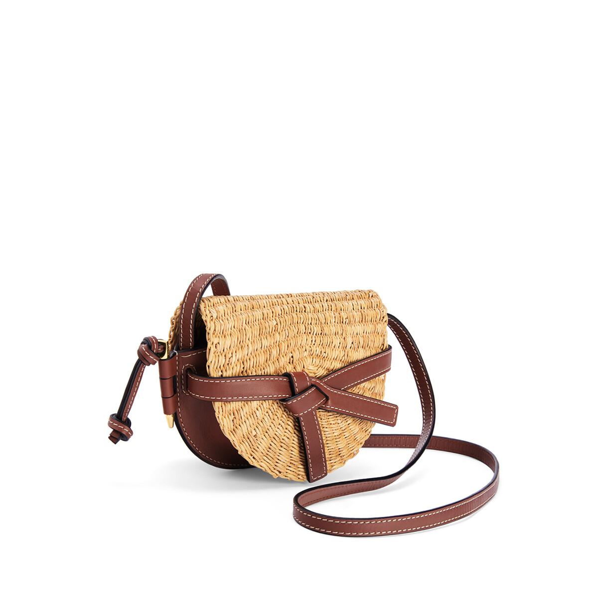 LOEWE Mini Gate Bag In Elephant Grass And Calfskin Natural/Pecan front