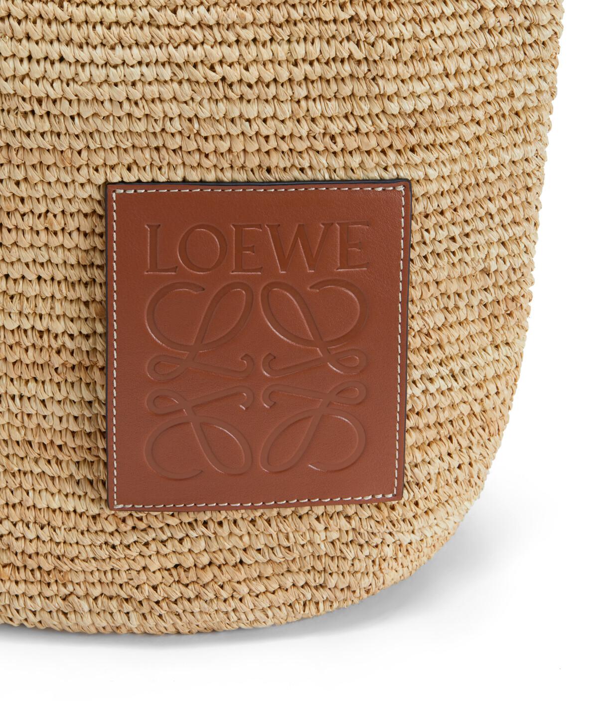 LOEWE Slit Bag In Raffia And Calfskin Natural front