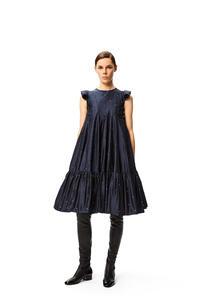 LOEWE Pearls embroidery A- line dress in silk Deep Sea Blue pdp_rd