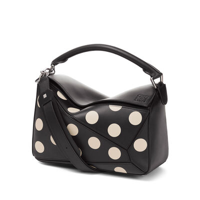 LOEWE Bolso Puzzle Dots Negro/Greige front
