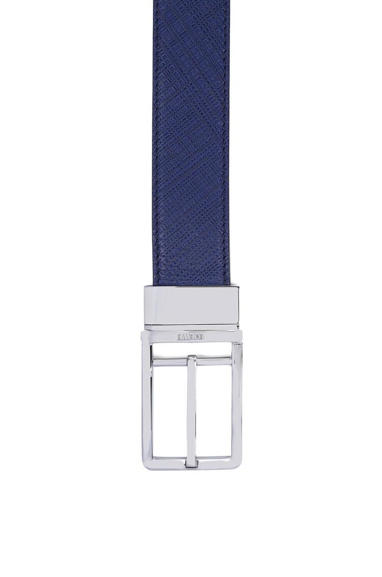 LOEWE Formal Belt In Textured Calfskin Navy Blue/Black/Palladium pdp_rd