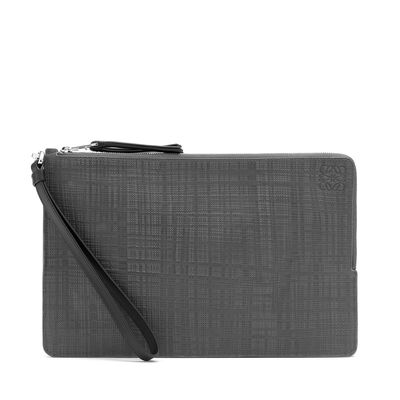 LOEWE Double Flat Pouch Dark Grey front