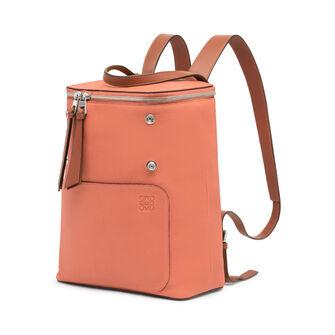 LOEWE Goya Small Backpack Pink Tulip/Tan front