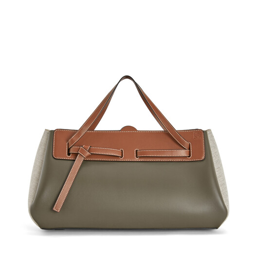 LOEWE Lazo East-West Bag Khaki Green/Natural front