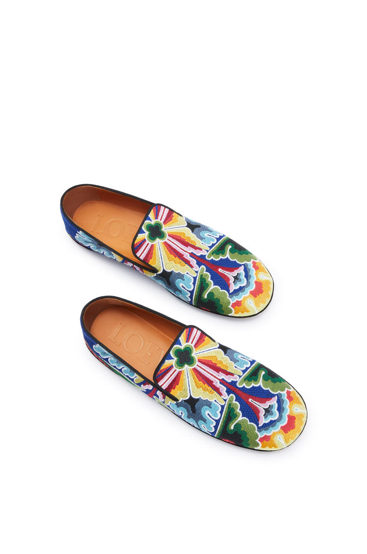 LOEWE Embroidered slipper in polyester and cotton Navy Blue/Multicolor pdp_rd