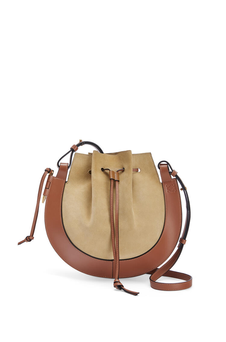 LOEWE Horseshoe bag in suede and calfskin Gold/Tan pdp_rd