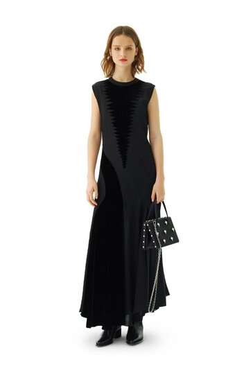 LOEWE Velver Patch Dress Black front