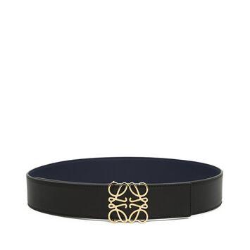 LOEWE Cinturon Anagrama 4Cm Negro/Marino/Oro front
