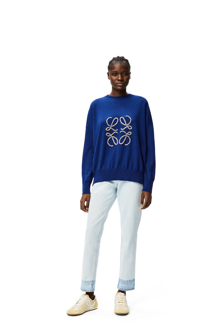 LOEWE Anagram embroidered sweater in wool Navy/Indigo Dye pdp_rd
