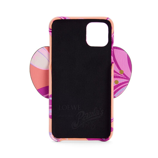 LOEWE Elephant Cover For Iphone 11 In Waterlily Classic Calfskin Salmon/Pink front