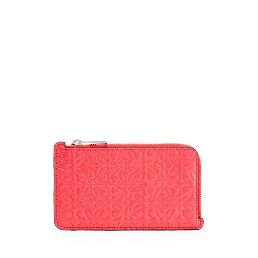 LOEWE Coin Cardholder Poppy Pink front
