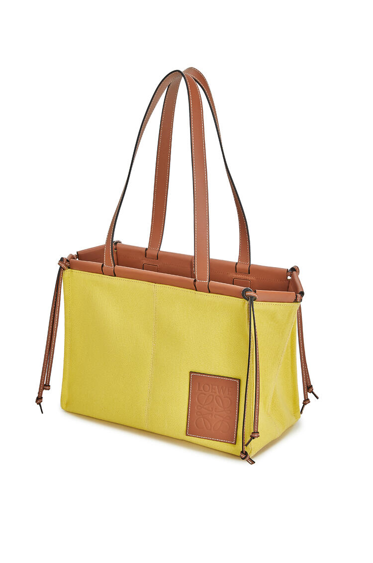 LOEWE Small Cushion Tote bag in canvas and calfskin Yellow pdp_rd