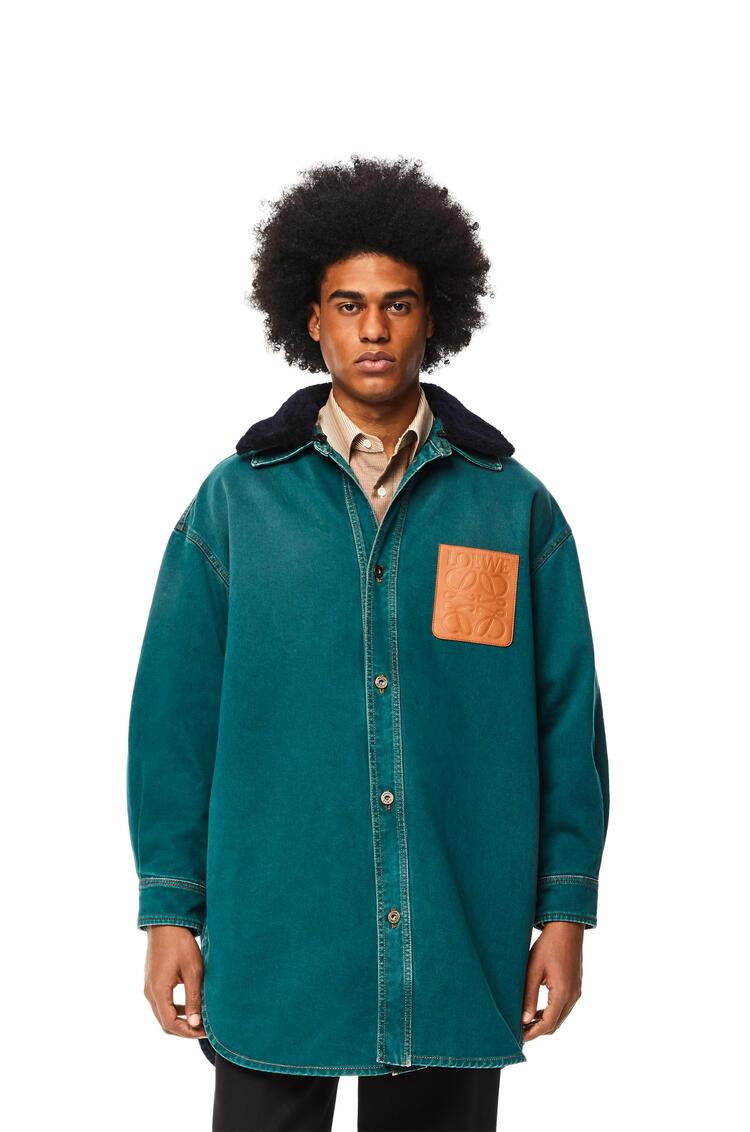 LOEWE Shearling trim overshirt in cotton Petroleum pdp_rd